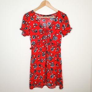 MINKPINK Red Floral V-neck A-Line Short Dress